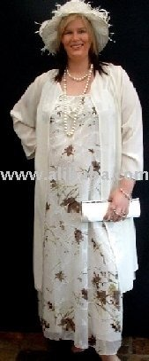 Plus Size Georgette jacket and cream floral dress