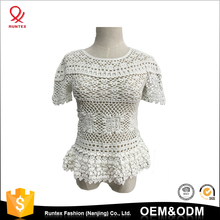 OEM Factory Women's Hollow-out Cotton Jumper short sleeve Handmade Crochet top pullover Sweater For Girls
