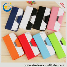 colorful Contrast color wallet card holder leather phone case for iphone 5
