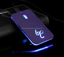 Best selling products slim wired flat optical mouse with LED light logo