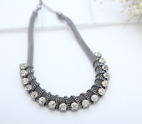 Jewelry diamond necklace in gunmetal plating color for women