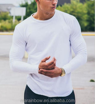 White Plain 94% Cotton 6% Spandex Mens Long Sleeve T-Shirt Blank Longline Curved Hem T Shirt Muscle Tee Gym Wear Wholesale