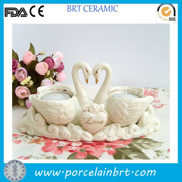 Valentine's day gift fine swan shaping ceramic Tea Candle Holder