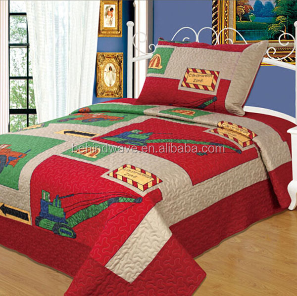 Printed Truck Cotton Red Bed Cover