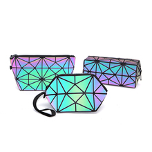 Geometric pvc holographic <strong>bag</strong> Zipper Women Luminous Ladies Cosmetics set case Organizer Folding toilet Make Up <strong>Bag</strong>