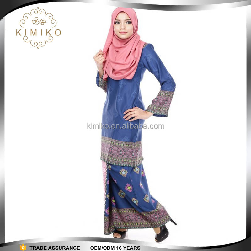 Oem service supply muslim women long dress baju kurung modern 2015,baju mordren malaysia