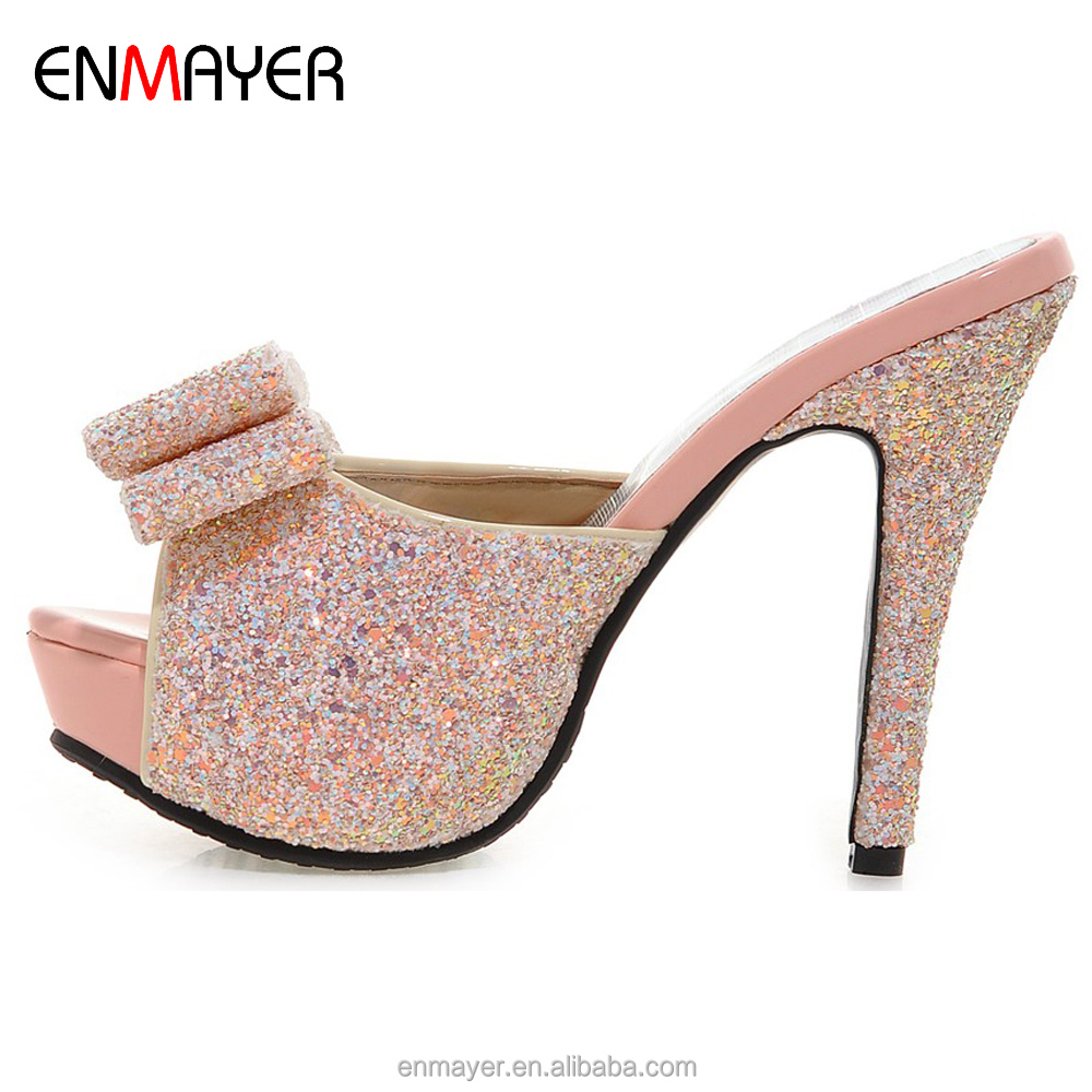Hot sale European fashion special glitter magritte leather bowknot ornament date high heel summer <strong>slippers</strong> with thick platform