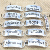 Custom logo inspirational words charms connector mix words faith hope love charms for bracelets connectors charms