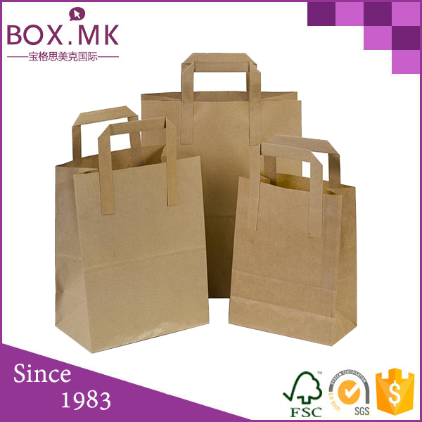 Custom Cheap Flat Bottom Kraft Paper Gift Bag Brown With Flat Handle For Food