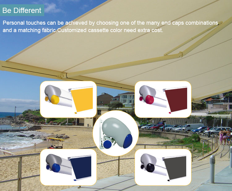 France Somfy motor and remote control full cassette electric retractable awning