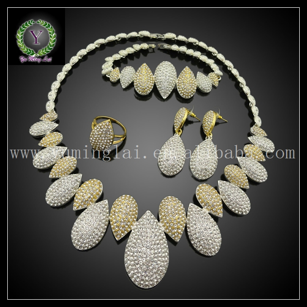 Perfect accessory Wire Mesh Net Crystals Necklace Bracelet Jewelry Sets for Women Girls Wedding Party Gift