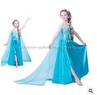 2015 Elsa Frozen Dress For Girl Dress Up Elsa Princess Dress With Snowflake Frozen Movie Cosplay Costume