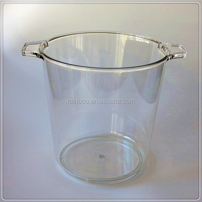 Hot sale logo printed custom 5L round plastic champagne ice bucket