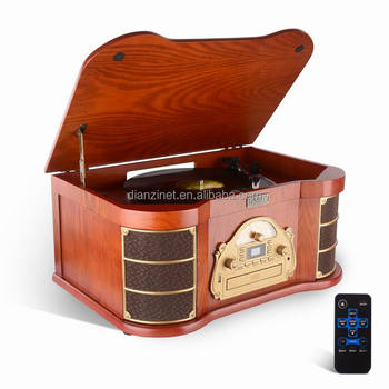 Europe style Wooden Gramophone Phonograph with turntable, AM/FM radio, bluetooth, USB, CD, and tape