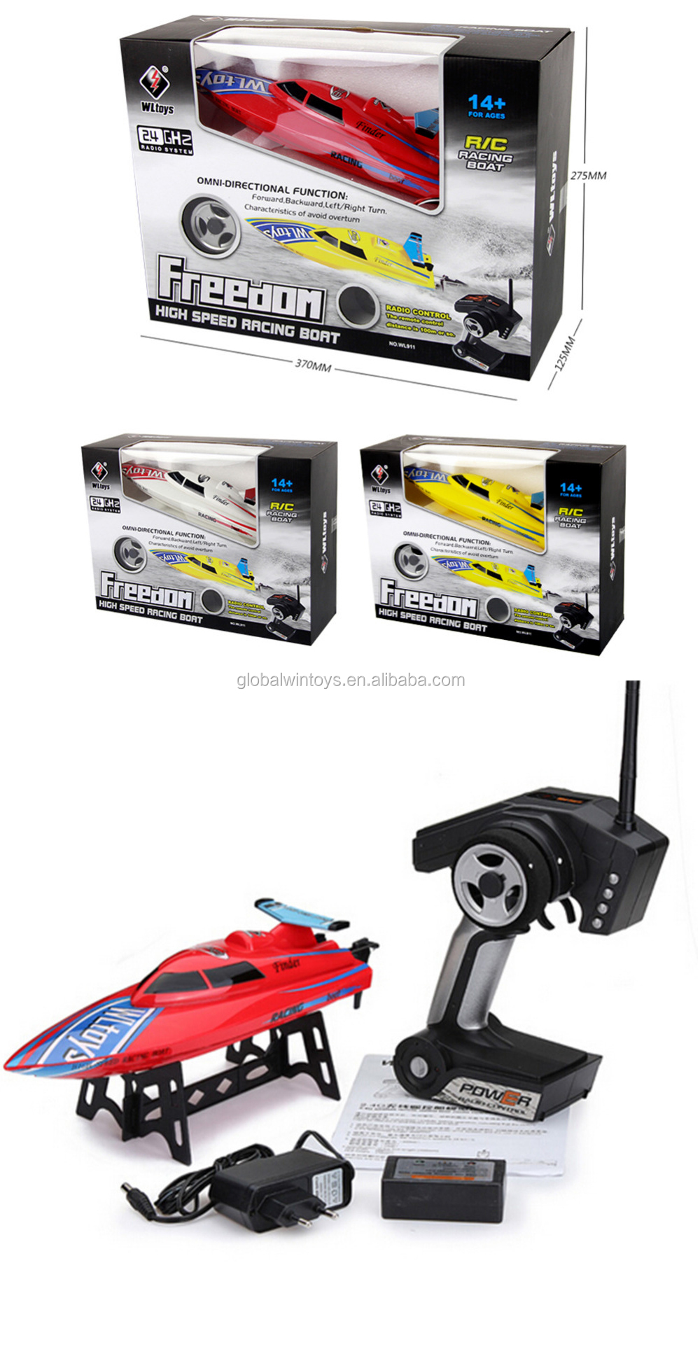 WLtoys911 rc boat 3 colors to choose 24km/h high speed boat for kids toy jet boat  avoid overturn .jpg