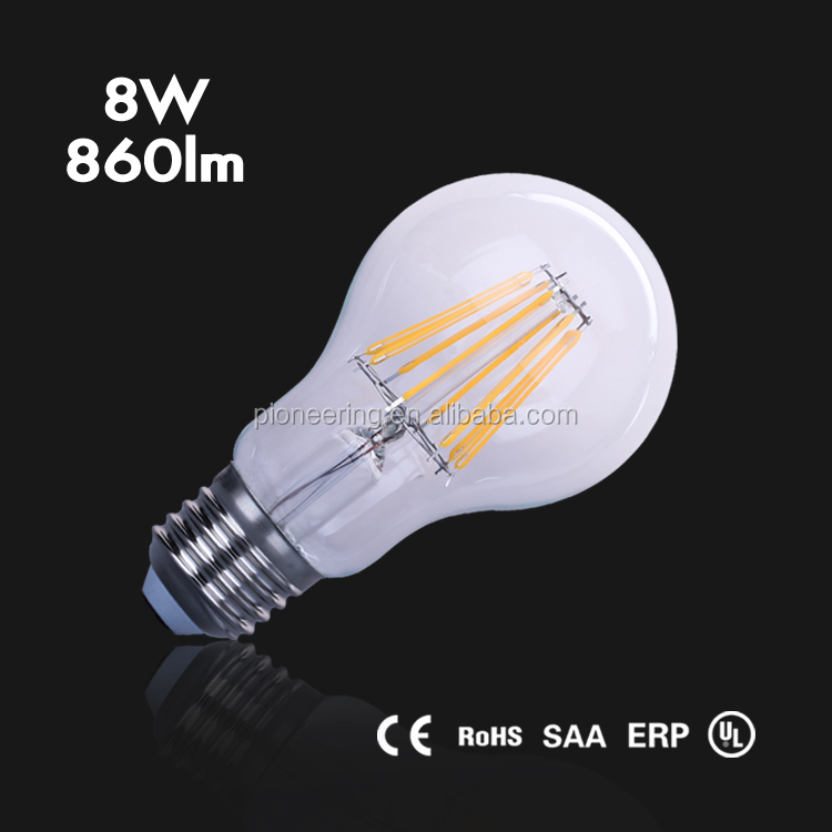 high lumen 860lm led filament bulb, PF0.5 A60 8W led filament bulb <strong>light</strong>