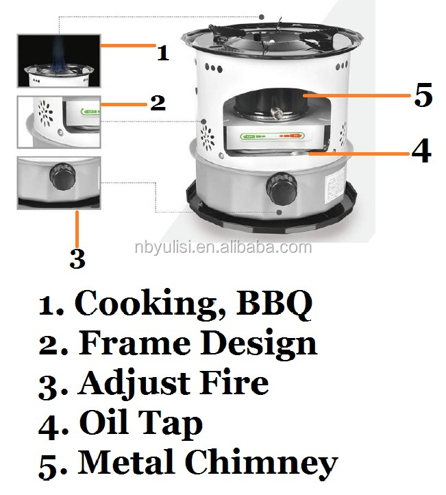 kerosene wick stove metal chimney CE ROHS double tank use for cooking, camping
