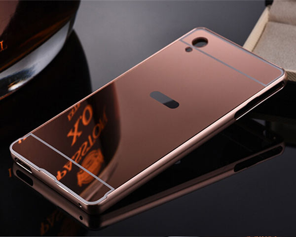 Fashion Electroplate Mirror Back Cover + Metal Aluminum Bumper Frame Case For infinix note 2 x600