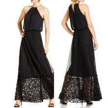 new design custom pleated lace hem blouson long halter dress