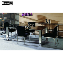 Stainless steel black glitter glass top mirrored dining table