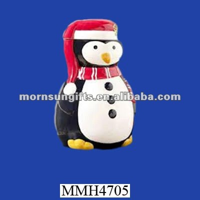 Christmas ceramic penguin cookie jar