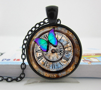 Black Steampunk clock pendant Steampunk watch necklace Steampunk clock photo glass dome jewelry