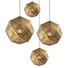 Geometry Polygonal Small metal gold pendant light for shop decoration