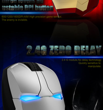Coolest Iron Man Wireless Mouse with Nano Receiver, Noiseless and Silent Click with 1600 DPI for PC, Laptop, Tablet, Computer, a