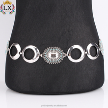 BLX--00002 latest design fancy Rectangular glass blue beads antique silver belt waist belly chain