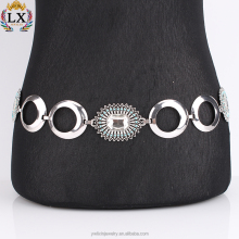 WLX--00002 latest design fancy Rectangular glass blue beads antique silver belt waist belly chain