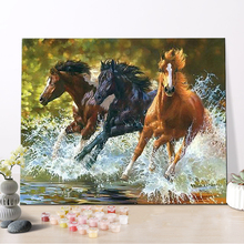 CHENISTORY DZ1188 Painting By Numbers Oil Dig Running Horses On Canvas With Frame For Kits