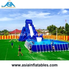 Commercial Inflatable Land Water Park On Land With Pool Slide Bouncer For Kids And Adults