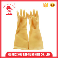 2016 Europe style yellow industrial long smooth latex gloves