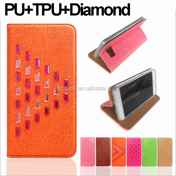Fashion Mouse Wallet PU Leather Mobile Cover Phone Case For Samsung Galaxy S6 Edge Diamond Cell Phone Case