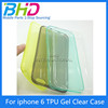 "For iphone 6 4.7"" Back Skin Cover tpu soft case cover custom silicon case for cell phone"