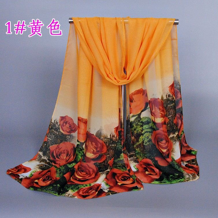 2016 NEW design bright-colored printe floral scarf/scarves rose flower chiffon silk autumn muslim hijab Muffler shawls