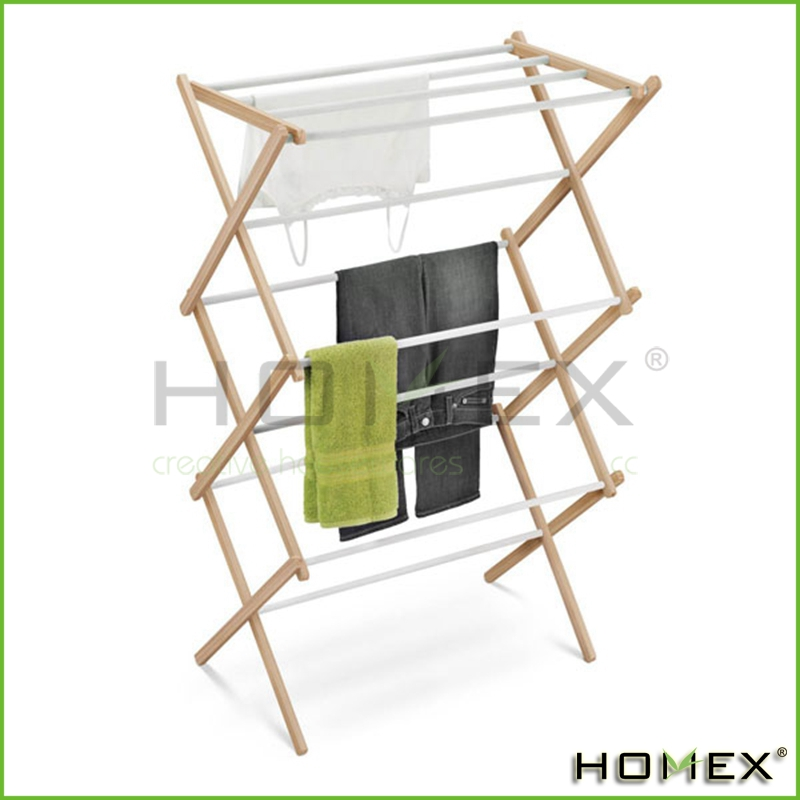 Wooden Accordion Drying Rack Homex-BSCI Factory