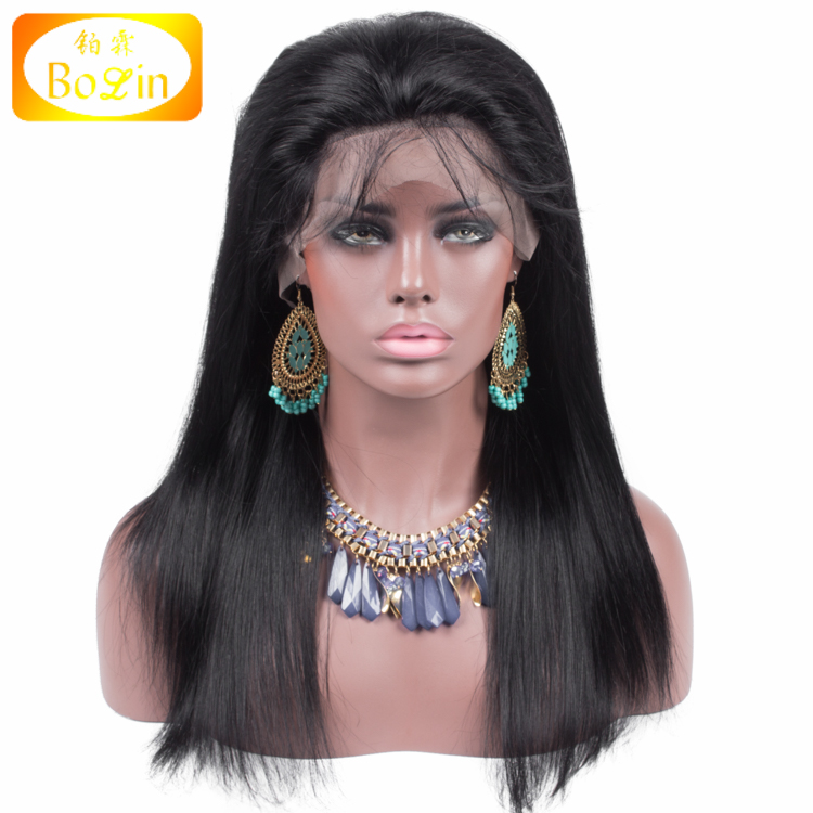 Unprocessed Silky Straight Color 1B Wholesale Brazilian Hair Lace Wig Swiss Lace Brazilian 360 Lace Frontal Wig