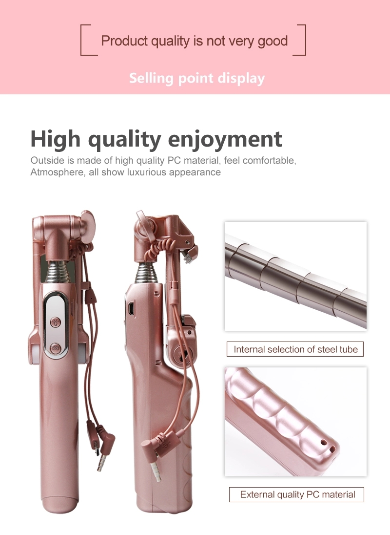 New product ideas 2018 A6 foldable universal Selfie Stick with led light with Rear Mirror bluetooth Monopod for IOS and android