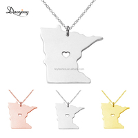 N006 European Accept Customized Stainlesss Steel Jewelry Minnesota USA State Map Outline Cut Pendant Necklace
