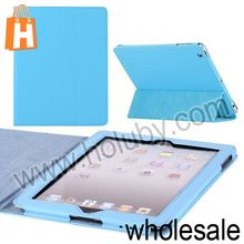 Springy Solid Color 3 Fold Side Flip Stand Leather Protective Case for iPad 2/ New iPad/iPad 4 Multi Colors