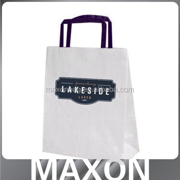 China supplier logo printing brown/white kraft paper bag with handle flat paper handle shopping bag