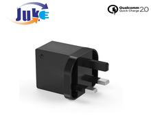 3.1A 24W Output Quad 2 USB Charging Ports Rapid Mains Charger Plug Adapter Wall Charger, (Black)