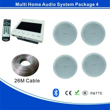 Bluetooth home audio system with USB,SD, FM, 86 wall amplifier 4 * 15W, 4pcs full range ceiling speaker and 18 meter of cable
