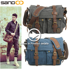Mens Vintage School Military Shoulder Bag, Custom Leather Canvas Messenger Bag