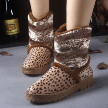 S4086 PROMOTION warm home bulk rubber sole 2014 winter cream leopard boots