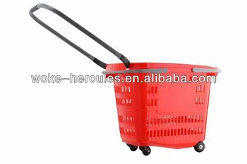 rolling plastic supermarket basket with wheels