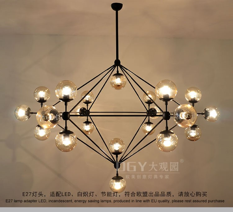 hotel lobby bar shop crystal round ball colored ceiling hanging galss chandeliers