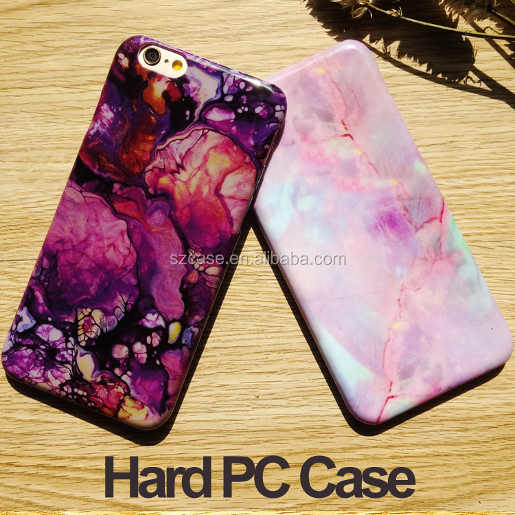 Fashion Purple Pink Hard Stone PC Case for iphone 7 IMD Design Mobile Phone Cover for Iphone 7 Plus case