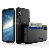 2 in 1 hard back cover for iphone x luxury shockproof case,for iphone x wallet case for iphone x wallet credit card